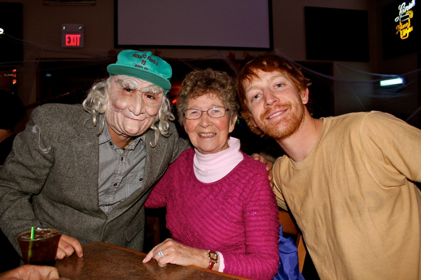 Grandma at the Halloween show. That is actually not a creepy old man on the left - it is our cousin Adam in a mask!
