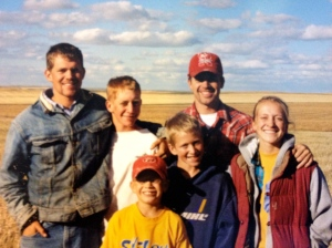 My brothers and I during harvest 2002, building character